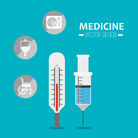 termometer: syrenge injection and termometer tools and medicine icon set. vector illustration Illustration