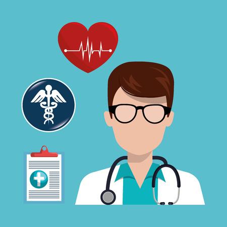 revive: avatar man medical assistance with medicine icon set. colorful design. vector illustration Illustration