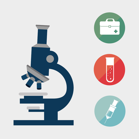 microscope research tool with medicine icon set. vector illustration Illustration