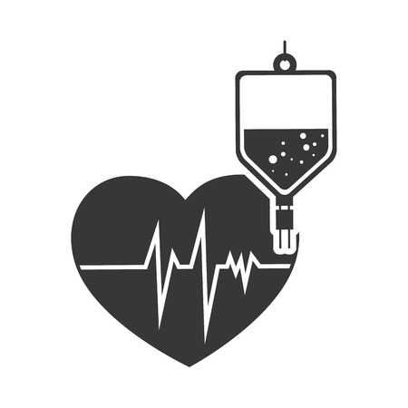 iv bag: cardio pulse heart with iv bag. medicine icon.vector illustration
