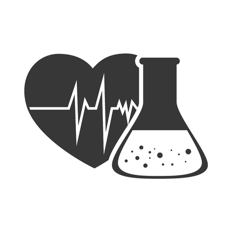 cardio: cardio pulse heart with conical flask chemistry bottle. vector illustration