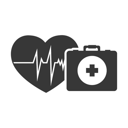 emergency kit: cardio pulse heart with briefcase healthcare emergency kit. vector illustration