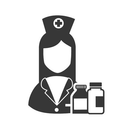 avatar woman nurse with medicine bottles icon. vector illustration