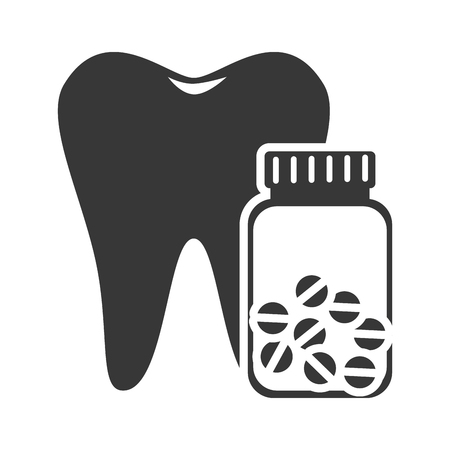 pills bottle: oral tooth with pills bottle container. medicine icon. vector illustration