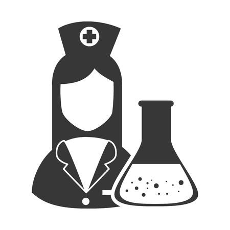 revive: avatar woman nurse with conical flask bottle. medicine icon. vector illustration Illustration