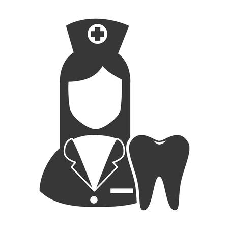 revive: avatar woman nurse with oral tooth. medicine icon. vector illustration