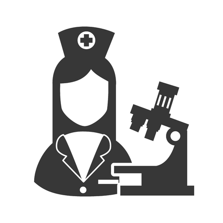 avatar woman nurse with microscope research and medicine icon. vector illustration Illustration