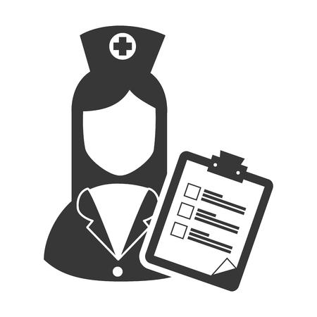 avatar woman nurse with medicine report table icon. vector illustration Illustration