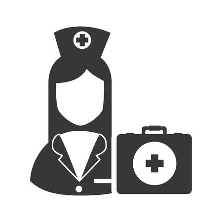 emergency kit: avatar woman nurse with emergency kit medicine icon. vector illustration