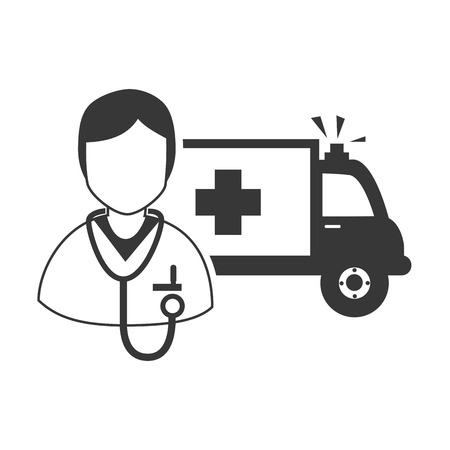 revive: avatar medical doctor with stethoscope tool and emergency ambulance vehicle. vector illustration