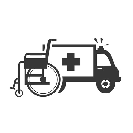 ambulance emergency medical vehicle with wheelchair tool. vector illustration Illustration