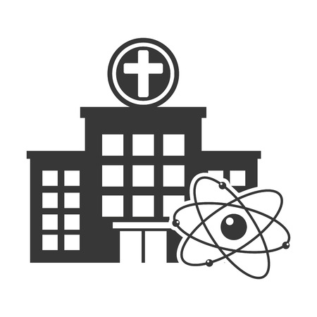 urgent care: hospital center building with atom structure silhouette. vector illustration