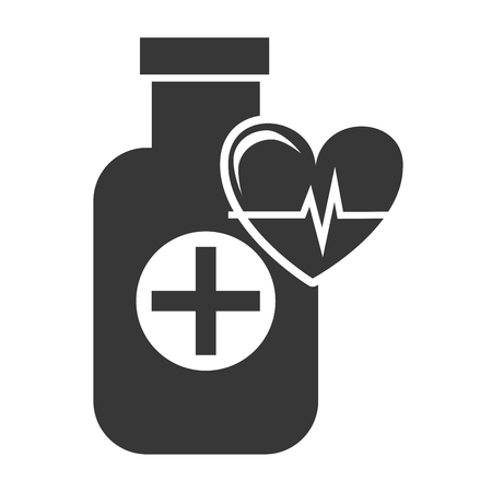 w�rmflasche: medical medicine bottle with cardio pulse heart silhouette. vector illustration Illustration