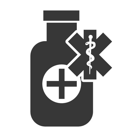 w�rmflasche: medical medicine bottle with caduceus symbol silhouette. vector illustration Illustration