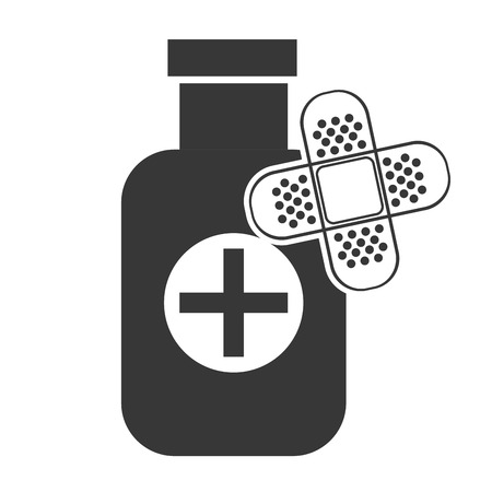 w�rmflasche: medical medicine bottle with adhesive bandage silhouette. vector illustration