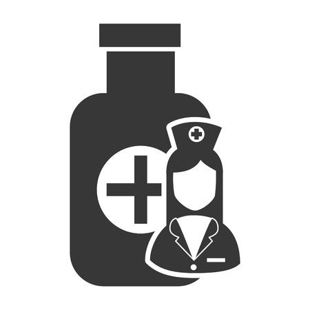 wärmflasche: medizin-Flasche mit avatar Frau Krankenschwester Silhouette. Vektor-Illustration