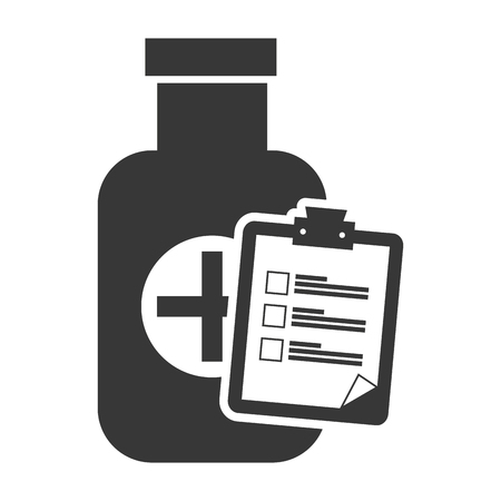 w�rmflasche: medical medicine bottle with report table silhouette. vector illustration