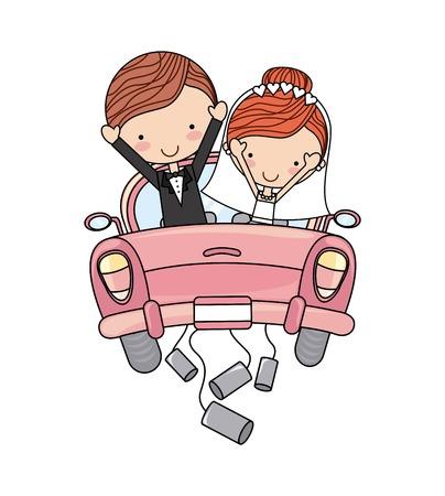 nur verheiratete Paar Auto isoliert Vektor-Illustration Design Vektorgrafik