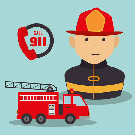dangerous work: firefighter man cartoon with security equipment. emergency service icon set. vector illustration Illustration
