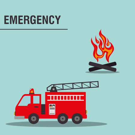 fire truck emergency vehicle rescue service. colorful design. vector illustration Illustration