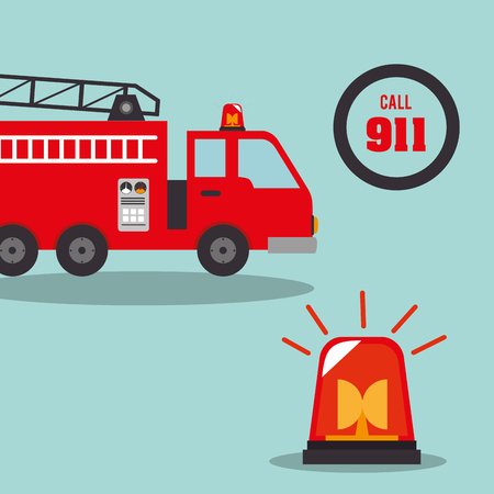 emergency engine: fire truck  vehicle rescue service emergency siren device. vector illustration