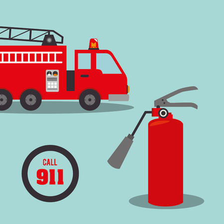 fire truck emergency vehicle rescue service and red extinguisher. vector illustration