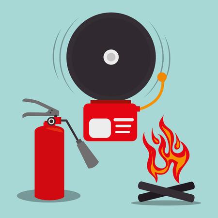 alarm fire and red extinguisher bottle. emergency system service equipment. vector illustration Vector Illustration