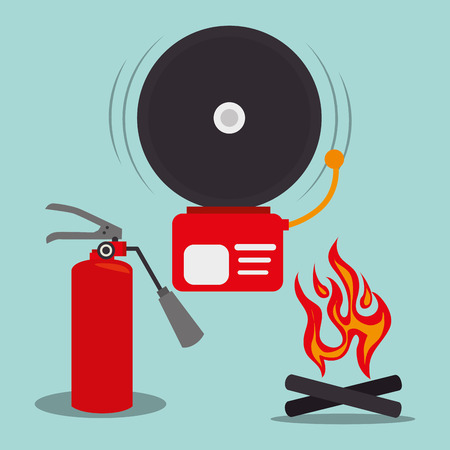 alarm fire and red extinguisher bottle. emergency system service equipment. vector illustration Illustration