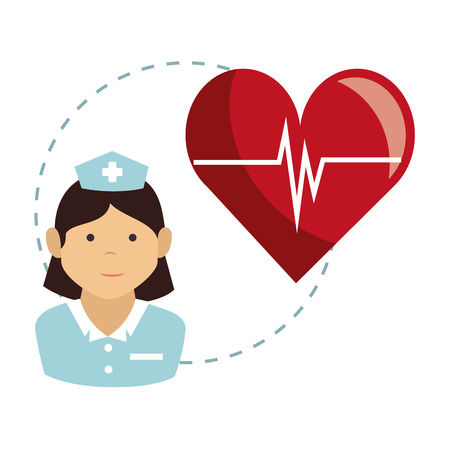 revive: avatar woman nurse medical assitance with cardio pulso red heart. colorful design. vector illustration