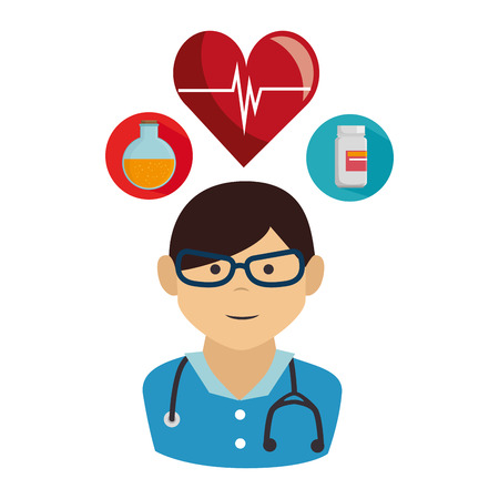 avatar medical man doctor with stethoscope and medicine icon set. vector illustration