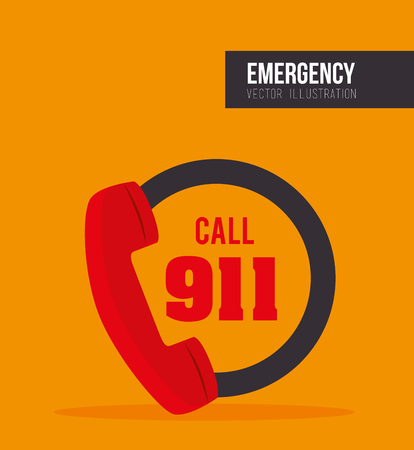 Call 911 fire equipment service emergency. vector illustration Illustration