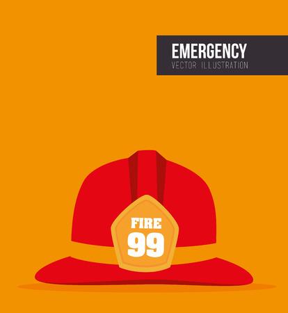 public servants: red helmet fireman protection security equipment. vector illustration