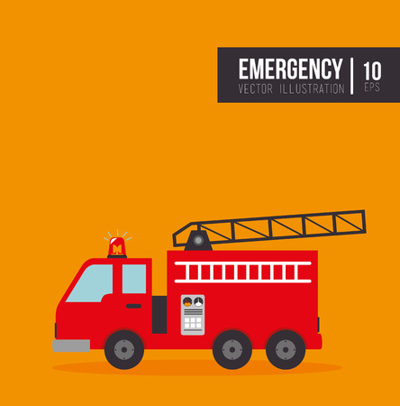 emergency vehicle: fire truck emergency vehicle rescue service. vector illustration