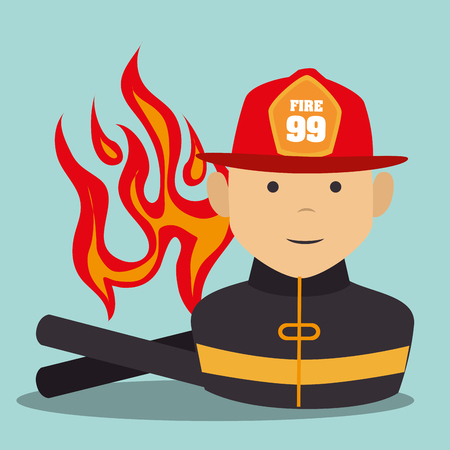 suppression: firefighter man cartoon with security equipment. emergency service. vector illustration