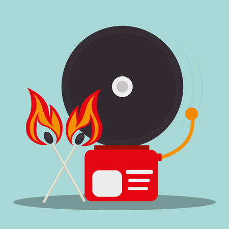 alarm fire system emergency service equipment and matchsticks on fire. vector illustration