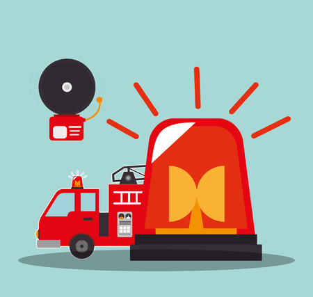 emergency vehicle: fire truck emergency vehicle with alarm and siren rescue alert. vector illustration Illustration