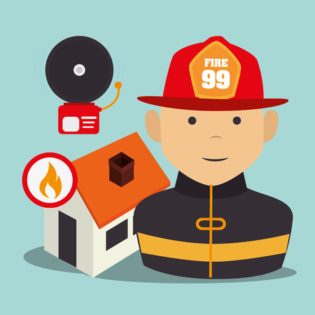 suppression: firefighter man cartoon with security equipment. emergency service icon set. vector illustration Illustration
