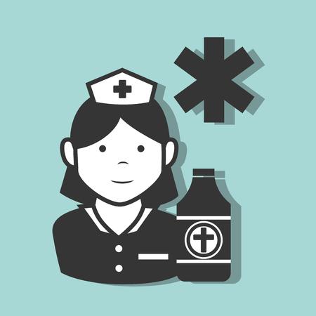 avatar woman nurse medical assitance with medicine icons set. colorful design. vector illustration Illustration
