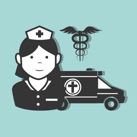 revive: avatar woman nurse medical assitance with medicine caduceus symbol and emergency ambulance vehicle. vector illustration