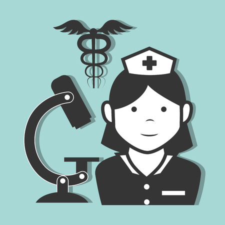 avatar woman nurse medical assitance with medicine caduceus symbol and microscope. vector illustration