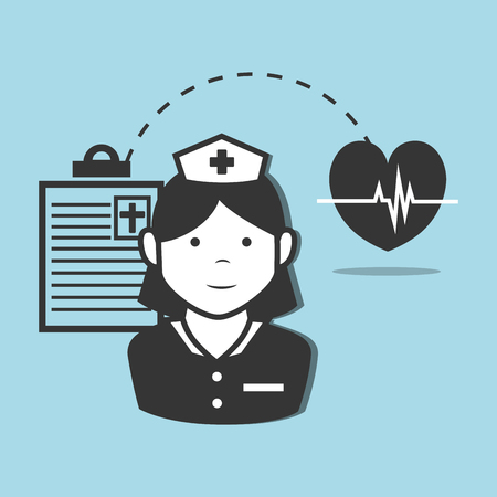 revive: avatar woman nurse medical assitance with medicine report table and cardio pulse heart icon. vector illustration Illustration