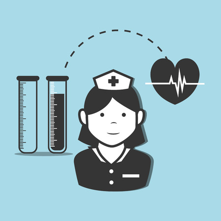 avatar woman nurse medical assitance with cardio pulse heart and test tubes medicine icon. vector illustration