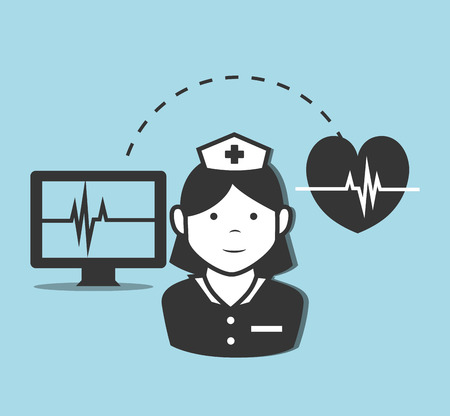 avatar woman nurse medical assistant with cardio heart and monitor computer with medicine report. vector illustration