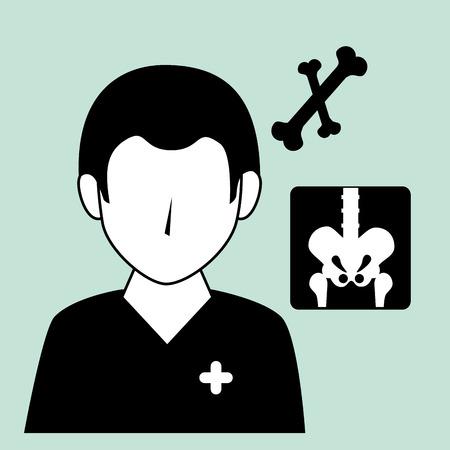revive: avatar medical orthopedist doctor man and bones xrays. vector illustration