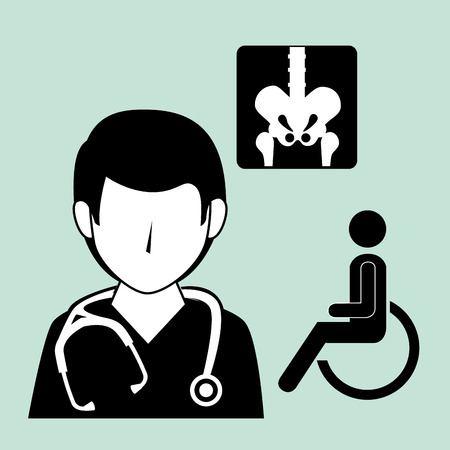revive: avatar medical man doctor with stethoscope and medicine icon set. vector illustration