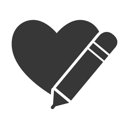 Heart Shape Symbol With Pencil Icon Silhouette Vector Illustration