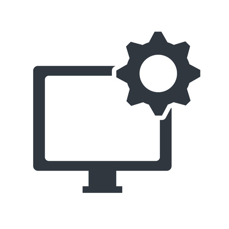 gear icon: screen monitor computer technology device with gear icon. vector illustration