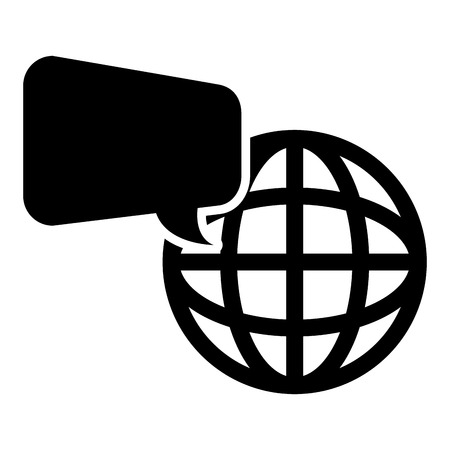 silhouete: speech bubble with sphere global connection network icon silhouete. vector illustration