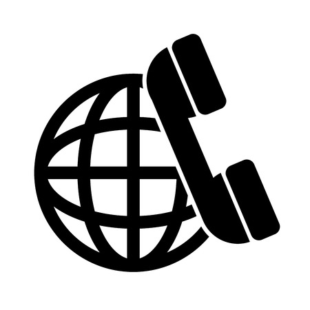 sphere global network connection and telephone headset icon. vector illustration Illustration