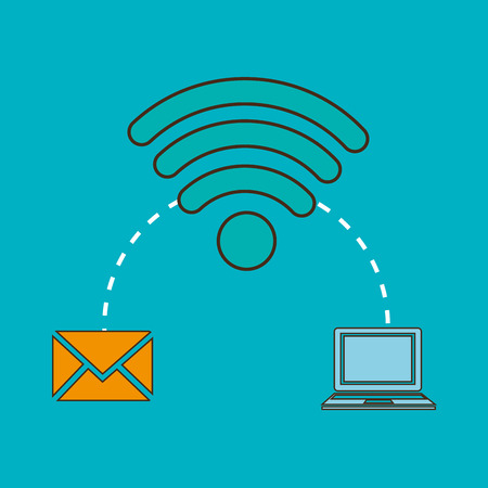 signal device: wireless signal with envelope mail and laptop computer device. vector illustration